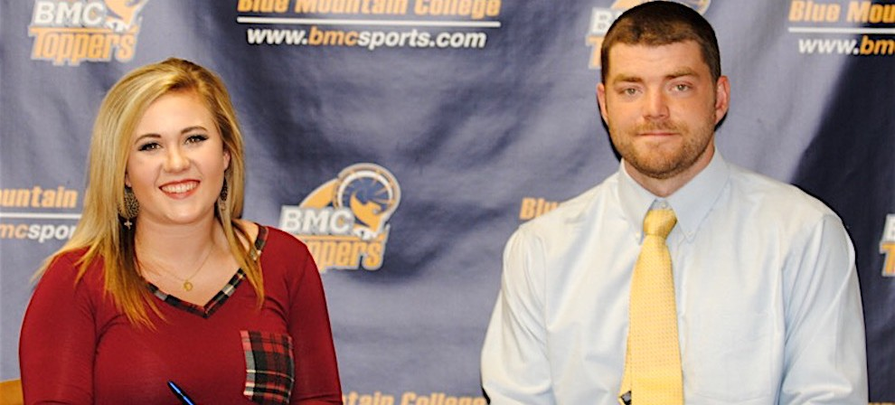 Alyssa Trulove (left) is pictured with BMC bowling coach, Creighton Nelms.