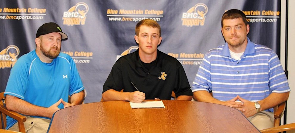 Gavin Ingle (center) signs with Blue Mountain College Bowling.