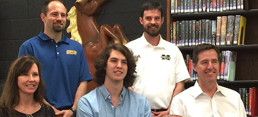 Adam Fleming (center,seated) signed with Blue Mountain College this week.