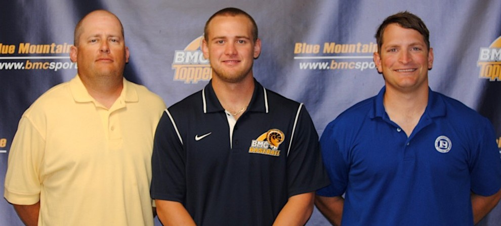 Pictured left to right:  BMC head Varsity coach Curt Fowler, Brandon Berry and head JV coach Taylor Clark