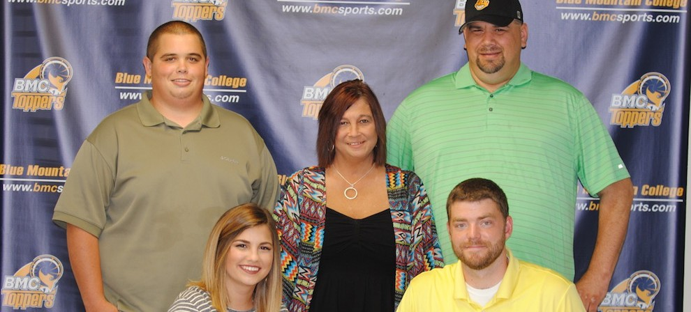 Hannah Schmidt (front, left) signed with Blue Mountain College Bowling recently.