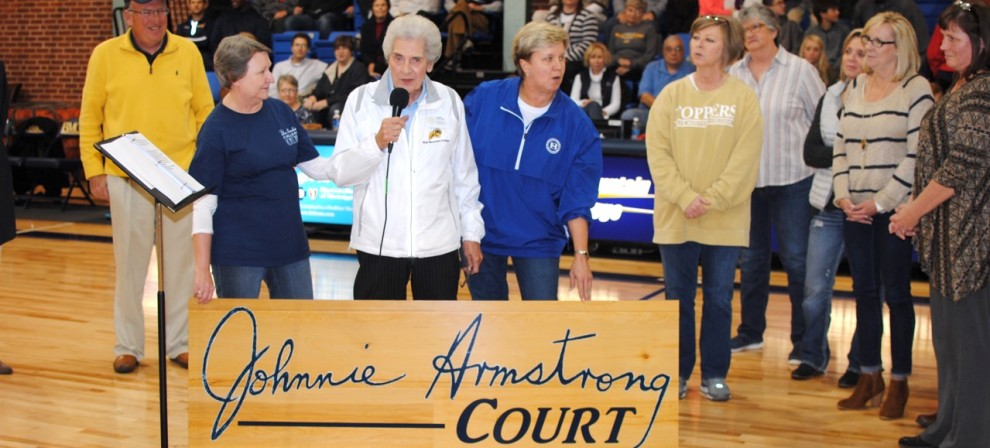 Johnnie Armstrong speaks to the crowd during the court dedication in her honor