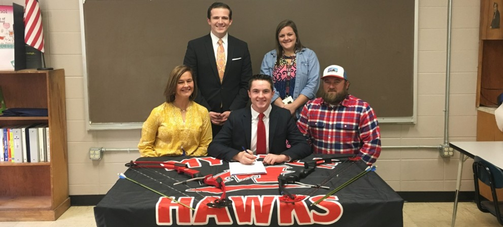 Jacob Gaines (seated, center) became BMC's first-ever archer signee