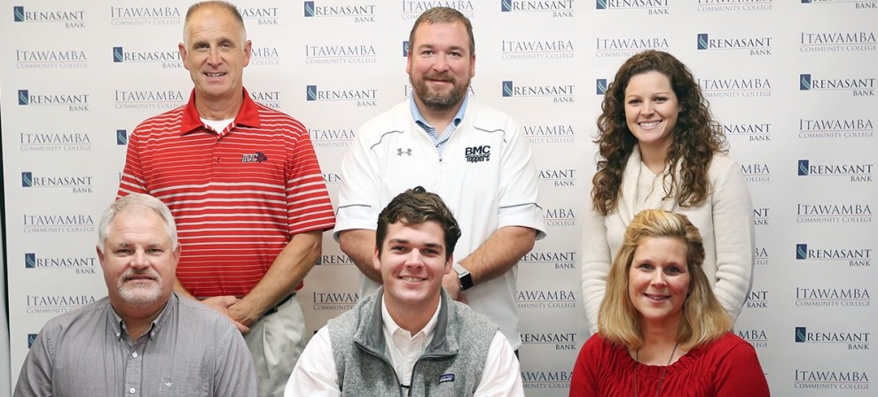 Andrew McDonald (center, seated) signed with BMC Golf