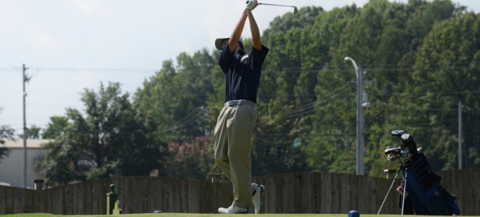 BMC's Ty Howell takes a swing in the fairway
