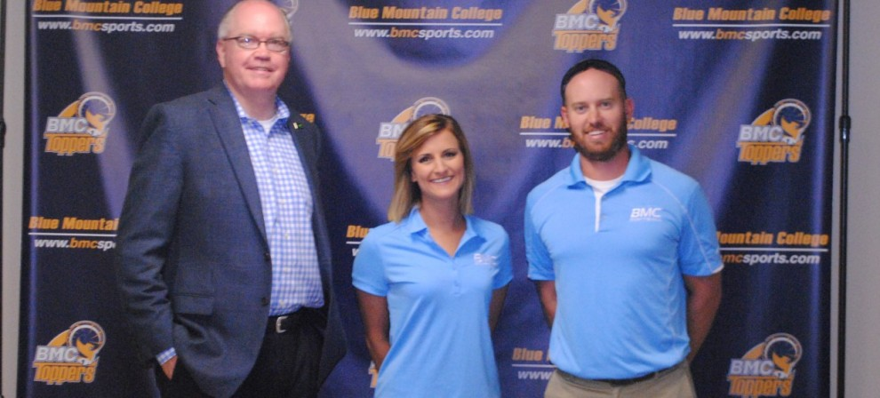 Pictured: L-R, BMC AD Will Kollmeyer, Hayley Parker and BMC head coach Tyler Herring